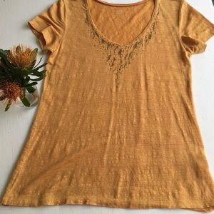 Eileen Fisher linen top accented with beads